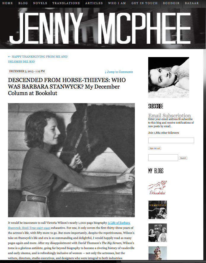 http://jennymcphee.com/2013/12/03/descended-from-horse-thieves-who-was-barbara-stanwyck-my-december-column-at-bookslut/
